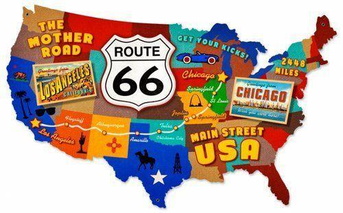 US Route 66 USA Map Custom Metal Shape Sign Past