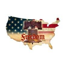 Freedom Working USA Map Custom Metal Shape Sign P