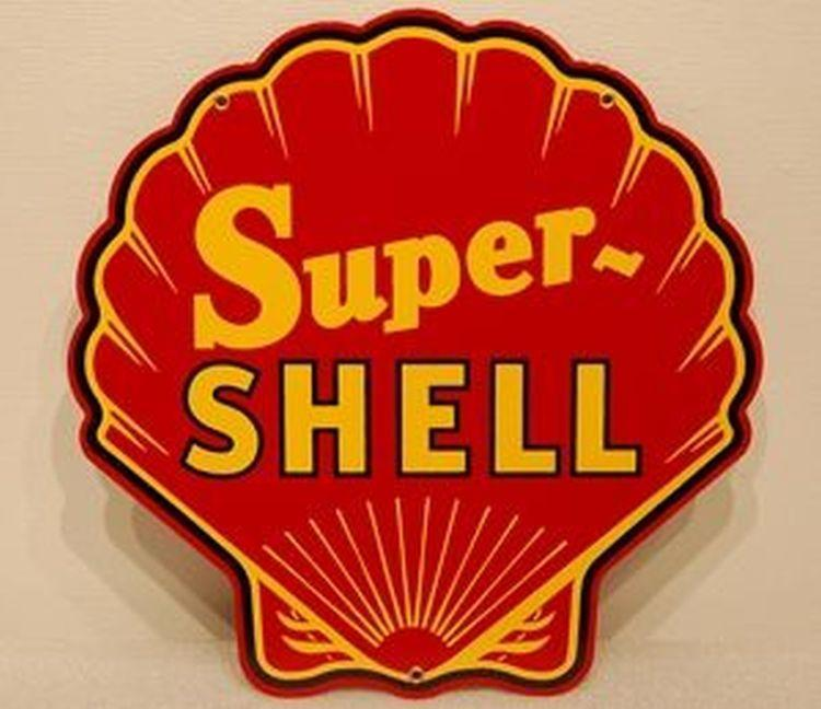 Super Shell Diecut Sign Red Cabin Man Cave Garage Decor