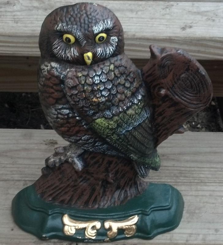 Owl Doorstop Large Cast Iron Cabin Man Cave Decor