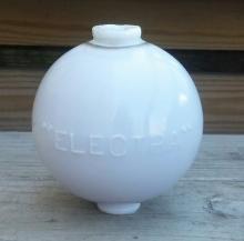 Electra Lightning Rod Ball White MilkGlass 4.5