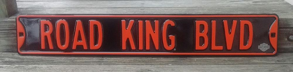 Road King Blvd Heavy Steel Street Road Sign 6x36 Garage Shop Decor