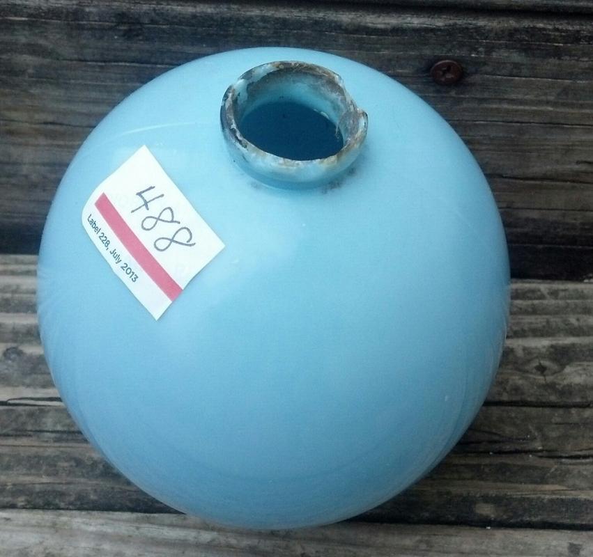 Blue MilkGlass Lightning Rod Ball Farm Home Roof Garden Cupolo Shop Decor