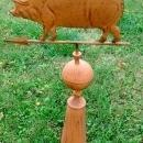 Pig Weather Vane and Stand Rustic Full Body Cabin Farm Home Roof  Decor