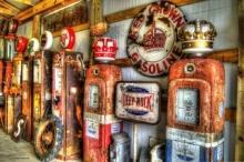 Rustic Gas Pumps  Red & Gold Crown Heavy Metal 11 x 17