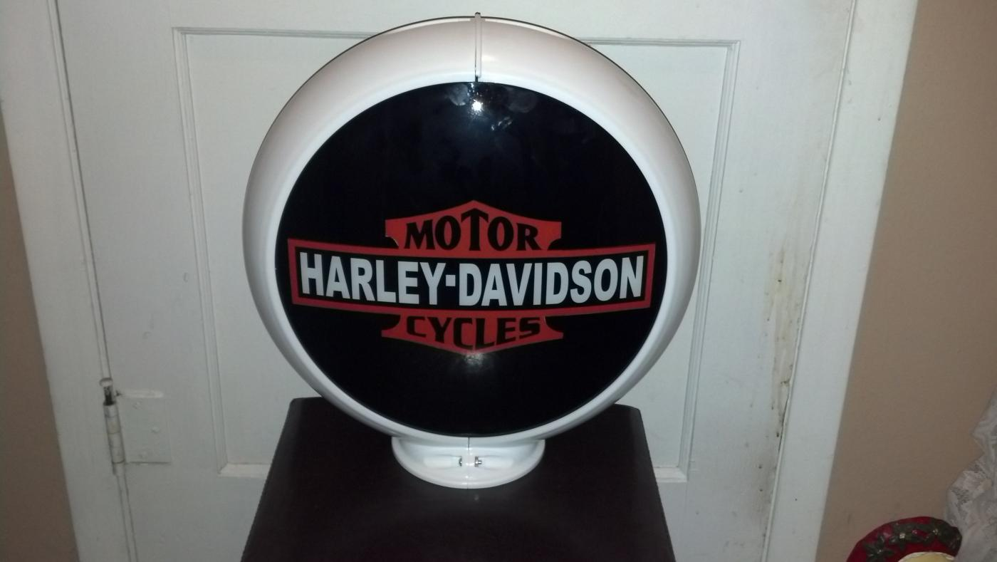 Harley Davidson White Motorcycle Gas Pump Globe Top Decor