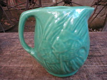 GREEN MCCOY FISH PITCHER DECORATIVE MC COY PITCHERS