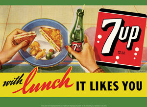SEVEN UP TIN SIGN METAL POP SODA ADV SIGNS S