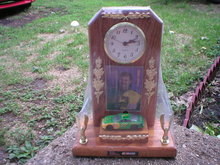 JOHN DEERE OAK SHELF CLOCK  NASCAR