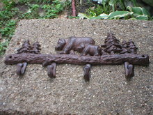 BEAR  CUB COAT RACK  CAST IRON