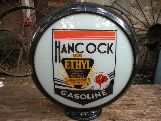 HANCOCK ETHYL GAS PUMP GLOBE OIL STATION