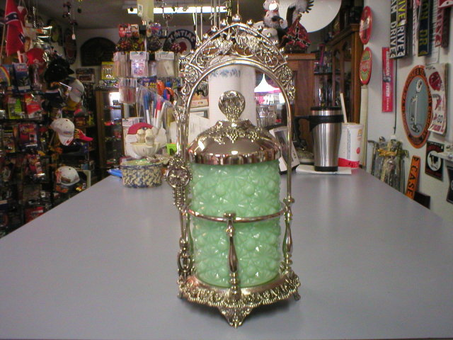 JADE JADITE GLASS PICKLE CASTOR ORNATE PICKLE CASTORS J
