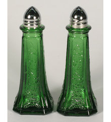 GREEN TALL MAYFAIR  DECORATIVE SALT AND PEPPERS G