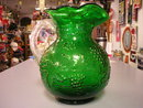LARGE HUNTER GREEN GRAPE & FLORAL PITCHER CLEAR HANDLE