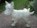 DOG STATUE DOORSTOP LEG-UP CAST IRON WHITE