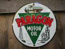 PARAGON MOTOR OIL PORCELAIN-COATED SIGN METAL ADV SIGNS