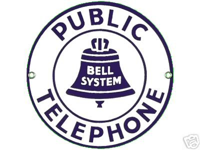 PUBLIC TELEPHONE PORCELAIN COATED SIGN