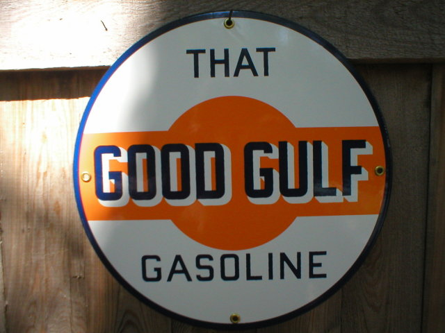THAT GOOD GULF GASOLINE PORCELAIN COATED SIGN