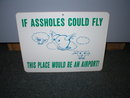 IF A--HOLES COULD FLY SIGN PLASTIC ADV AD SIGNS A