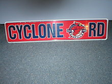 CYCLONE RD TIN SIGN METAL COLLEGE ADV AD SIGNS C
