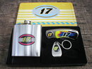 NUMBER 17 FLASK KNIFE KEYCHAIN-OPENER IN COLLECTOR TIN S