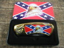 EAGLE WITH REBEL FLAG POCKET KNIFE COLLECTOR TIN BOX  E