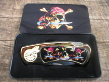 THREE SKULLS POCKET KNIFE IN COLLECTOR TIN BOX  R
