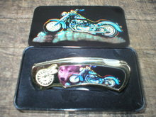 MOTORCYCLE POCKET KNIFE IN COLLECTOR TIN BOX  M