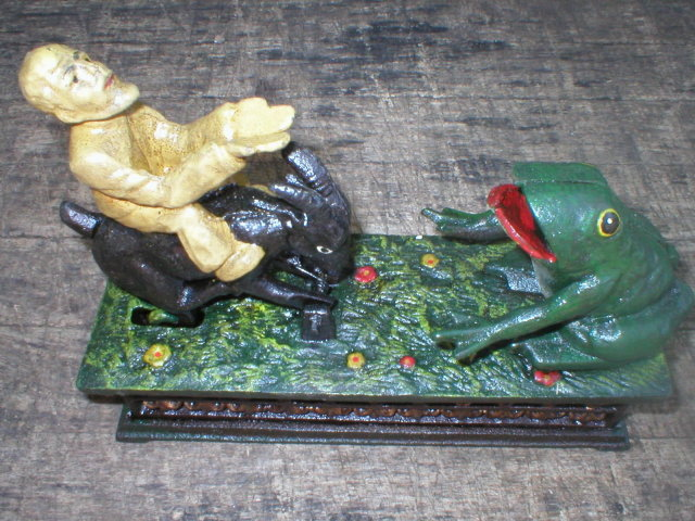 FROG & MAN RIDING GOAT MECHANICAL BANK