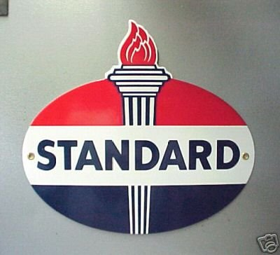 STANDARD OIL PORCELAIN COAT OVAL SIGN