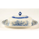 PORCELAIN BLUE TRANSFER WARE DECORATIVE BUTTERDISH B