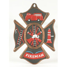 CAST IRON FIREMAN PAINTED PLAQUE DECORATIVE ITEM F