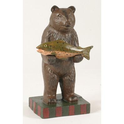CAST IRON STANDING BEAR HOLDING FISH STATUE DOORSTOP D