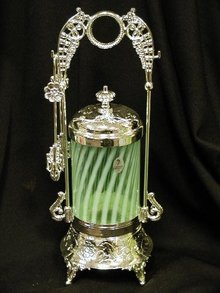 GREEN OPAL GLASS SPIRAL PICKLE CASTOR ORNATE PICKLE CASTORS
