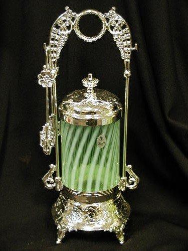 GREEN OPAL GLASS SPIRAL PICKLE CASTOR ORNATE PICKLE CASTORS
