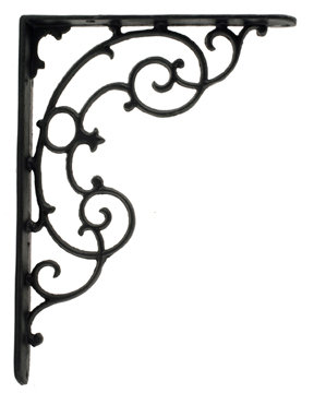ONE PAIR OF CAST IRON BLACK SCROLL SHELF BRACKETS B