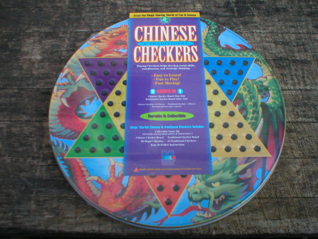 CHINESE CHECKER SET ROUND TIN BOX