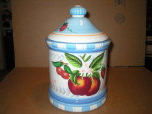 APPLE BLUE COOKIE JAR  KITCHEN DECOR