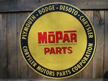 MOPAR PARTS ROUND TIN SIGN  24