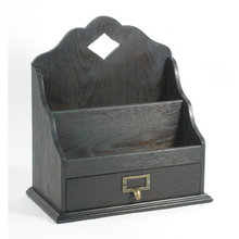DARK WOOD LETTER BOX MAIL & DOCUMENT ORGANIZER L