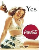 COKE YES GIRL TIN METAL SIGN