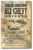 DRAG RACING ALL CHEVY NIGHT METAL SIGN