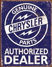 GENUINE CHRYSLER PARTS TIN METAL SIGN
