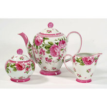 THREE PIECE PORCELAIN TEA SET STUNNING HOME DECOR T