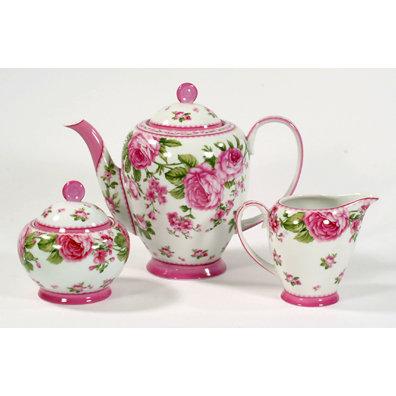 THREE PIECE PORCELAIN TEA SET STUNNING HOME DECOR T