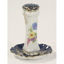 VICTORIAN STYLE BLUE TRIM FLORAL SAUCER HATPIN HOLDER B
