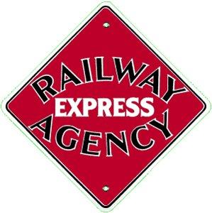 RAILWAY EXPRESS AGENCY PORCELAIN COAT SIGN METAL SIGNS