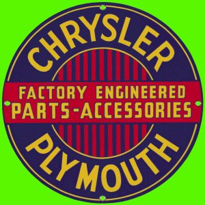 CHRYSLER PLYMOUTH PORCELAIN COATED SIGN  Ande Rooney