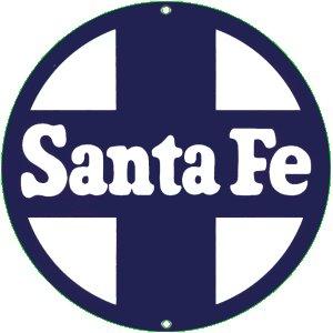 SANTE FE PORCELAIN-OVERLAY METAL SIGN