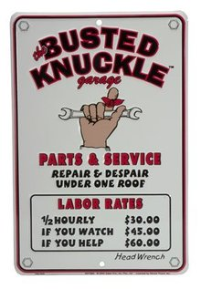BUSTED KNUCKLE RATES SIGN ALUMINUM ADV SIGNS B